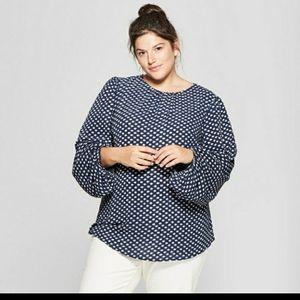 💥Ava & Viv navy white dot blouse 3x